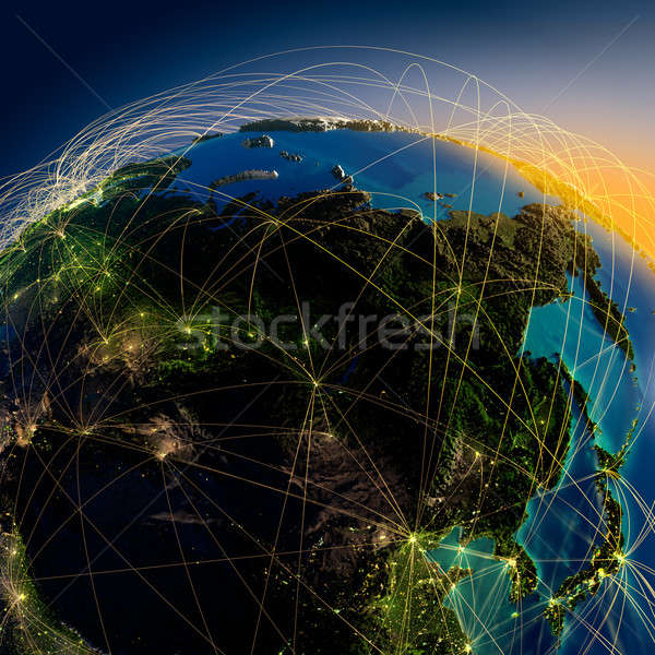 Main air routes in Asia and the Far East Stock photo © Antartis
