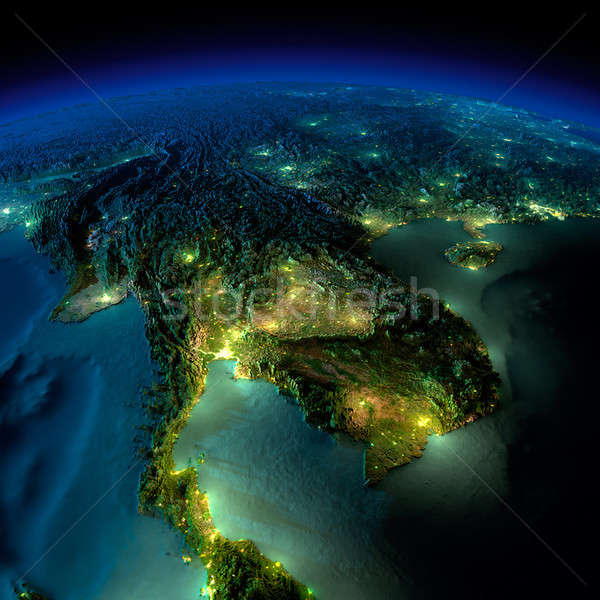 Night Earth. A piece of Asia - Indochina peninsula Stock photo © Antartis