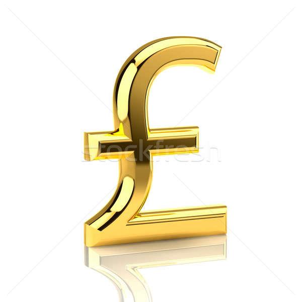 Golden pound sign on white Stock photo © Antartis