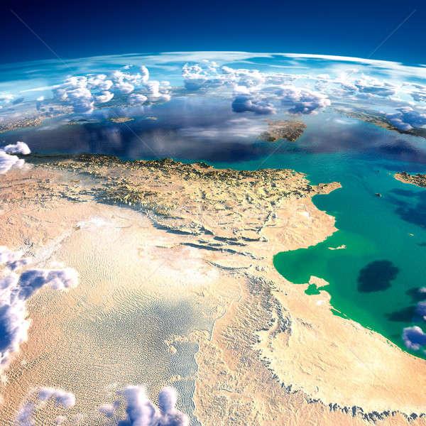 Dünya gezegeni Tunus ayrıntılı yardım Stok fotoğraf © Antartis
