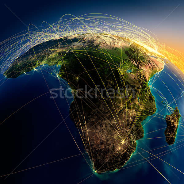 Main air routes in Africa and Madagascar Stock photo © Antartis