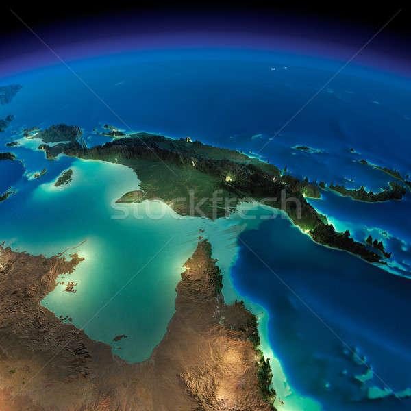 éjszaka Föld Ausztrália Pápua Új-Guinea rendkívül részletes Stock fotó © Antartis