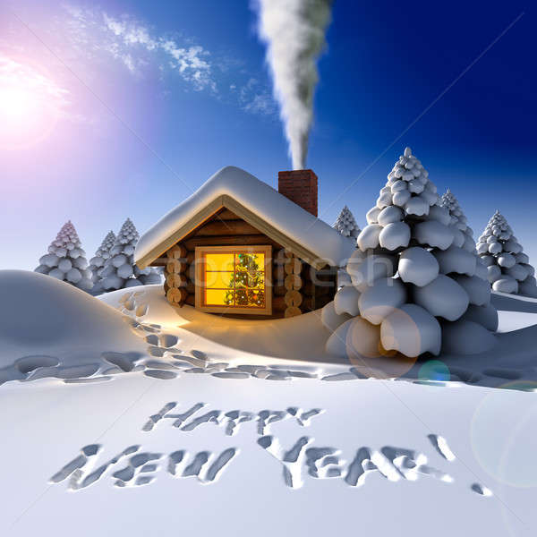A small wooden house in a fantastic snow forest on the eve of New Year on a sunny day Stock photo © Antartis