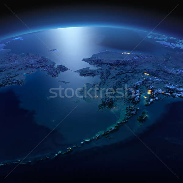 Detailed Earth. Chukotka, Alaska and the Bering Strait on a moon Stock photo © Antartis