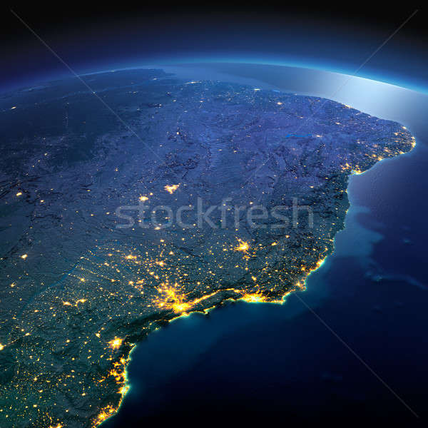 Detailed Earth. East Coast of Brazil on a moonlit night Stock photo © Antartis