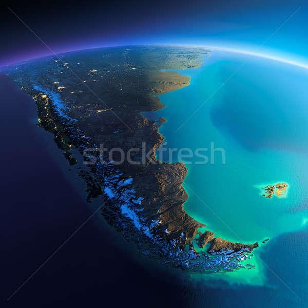 Részletes Föld dél-amerika rendkívül Föld éjszaka Stock fotó © Antartis