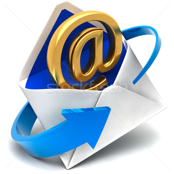 Stock photo: Email sign & envelope