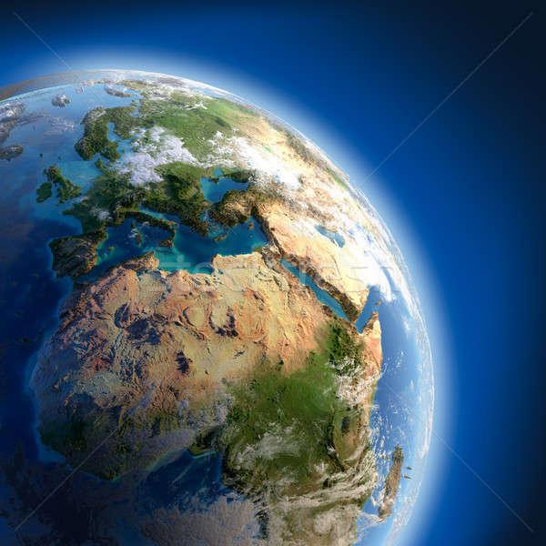 Stock foto: Erde · groß · Erleichterung · beleuchtet · Sonne · Fragment