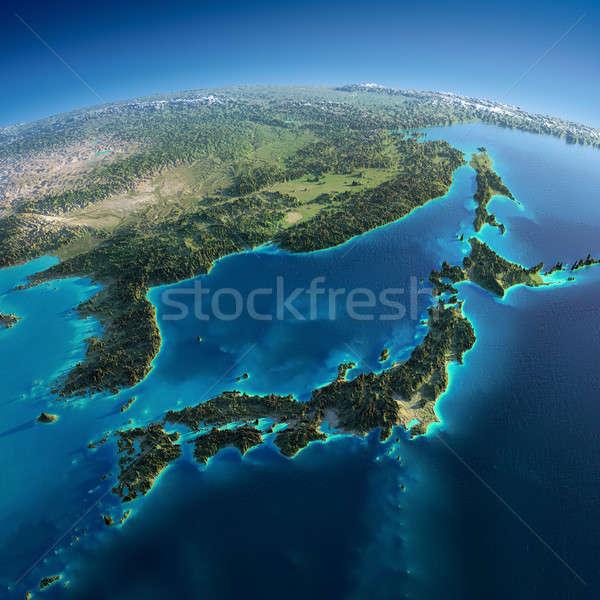 Részletes Föld Japán rendkívül Föld reggel Stock fotó © Antartis