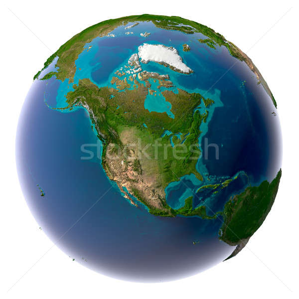 Realistico pianeta terra naturale acqua terra Foto d'archivio © Antartis