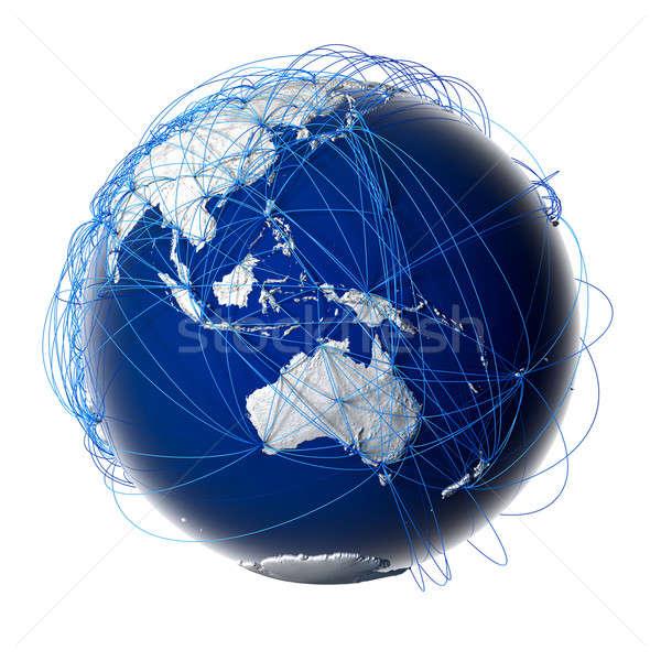Globális légi közlekedés földgömb Föld megkönnyebbülés stilizált Stock fotó © Antartis