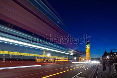 Big Ben behind light beams at twilight time, London, UK Stock photo © Antartis
