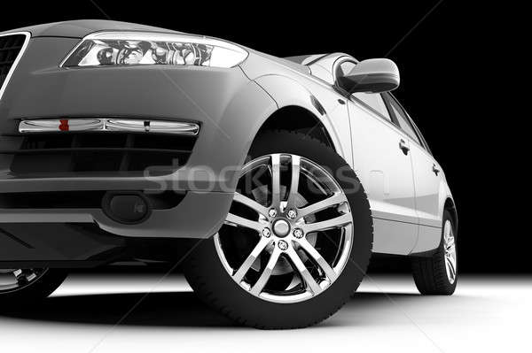 Car front bumper, light and wheel on black Stock photo © Antartis
