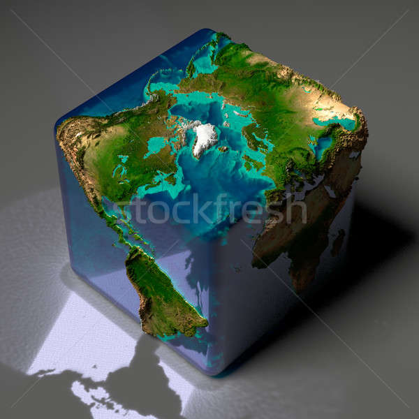 Cubic Earth with translucent ocean Stock photo © Antartis