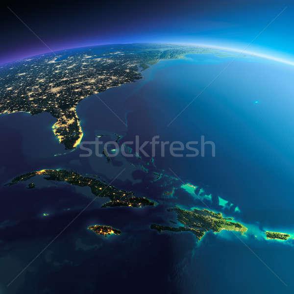 Detailed Earth. Caribbean islands Stock photo © Antartis