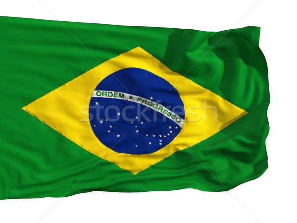 Flag of Brazil, fluttered in the wind Stock photo © Antartis