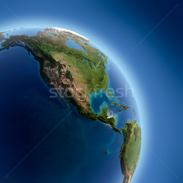 Earth with high relief, illuminated by the sun Stock photo © Antartis