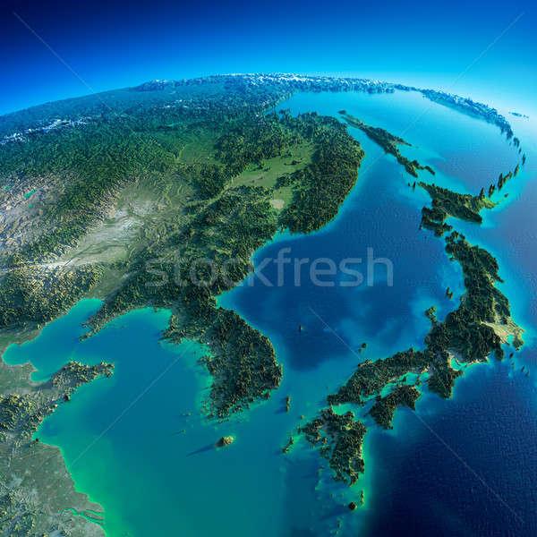 Szczegółowy ziemi Japonia wysoko planety Ziemi rano Zdjęcia stock © Antartis