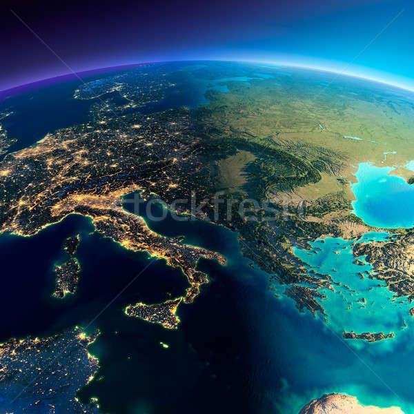 Gedetailleerd aarde Italië Griekenland middellandse zee zee Stockfoto © Antartis