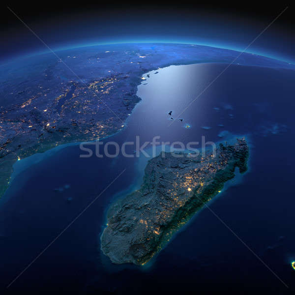 Detailed Earth. Africa and Madagascar on a moonlit night Stock photo © Antartis