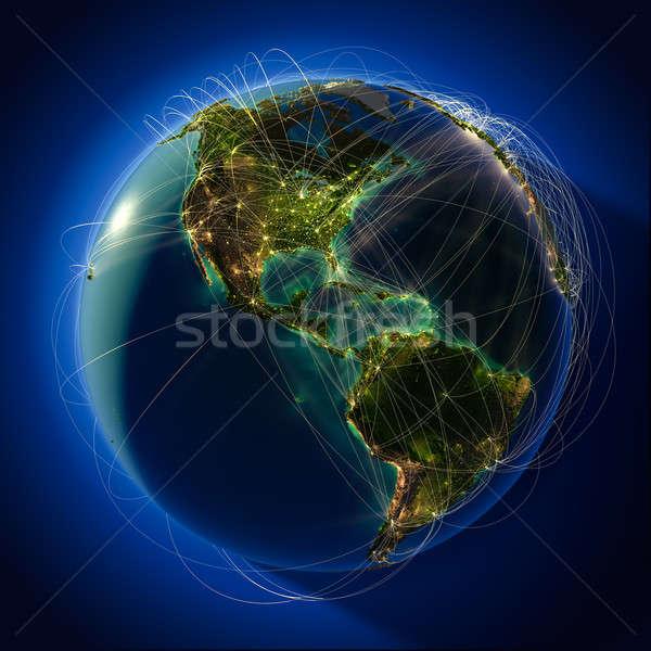 Globális légi közlekedés földgömb rendkívül részletes Föld Stock fotó © Antartis
