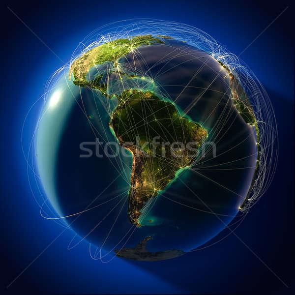 Mondial aviation monde détaillée planète terre Photo stock © Antartis