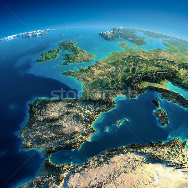 Részletes Föld Spanyolország mediterrán tenger rendkívül Stock fotó © Antartis