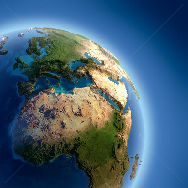 Föld magas megkönnyebbülés megvilágított nap darab Stock fotó © Antartis