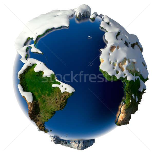Planète terre couvert neige soulagement saison d'hiver météorologiques Photo stock © Antartis