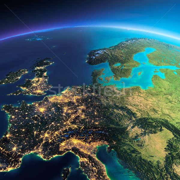 Ayrıntılı toprak merkezi Avrupa dünya gezegeni Stok fotoğraf © Antartis