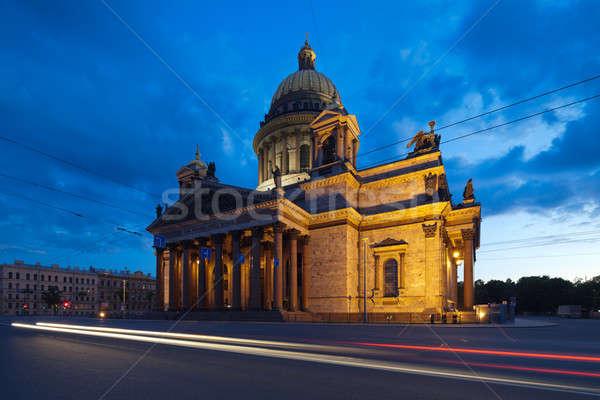Catedral blanco noche famoso símbolo Rusia Foto stock © Antartis