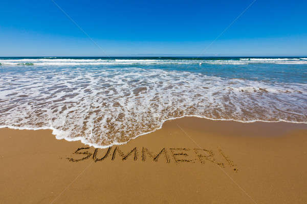 Foto stock: Verão · escrito · praia · palavra · praia · água