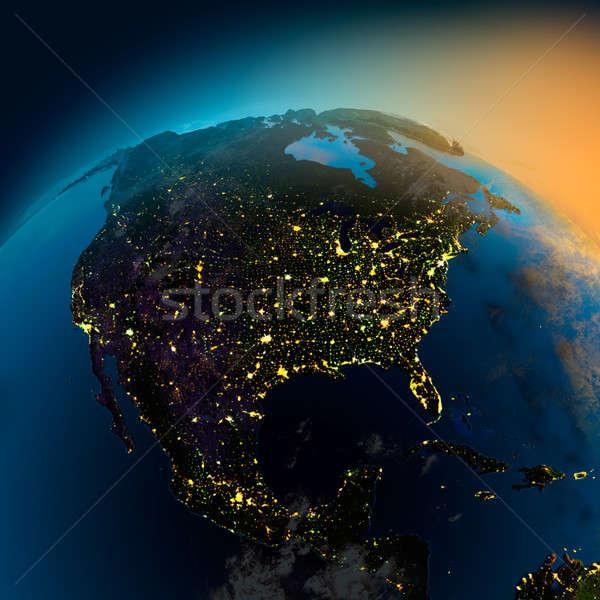 Noite ver norte américa satélite Foto stock © Antartis