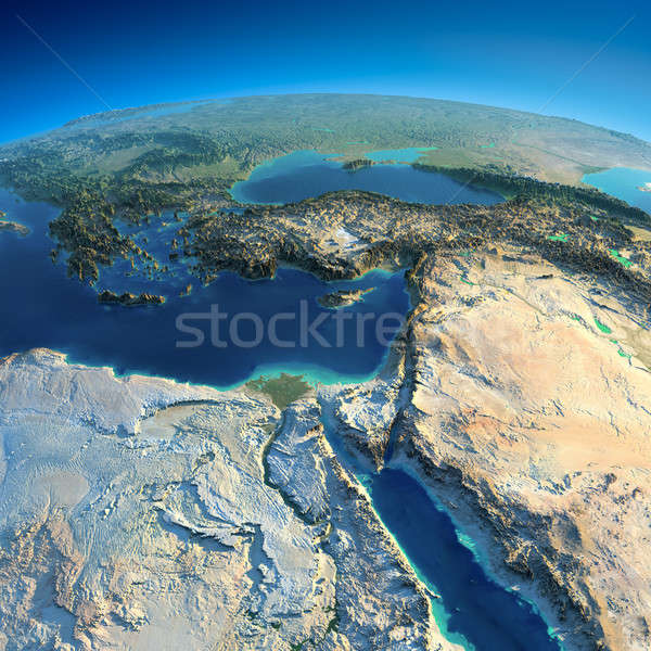 Detailed Earth. Africa and Middle East Stock photo © Antartis