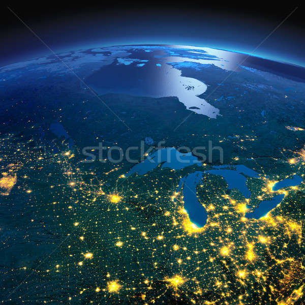 Detailed Earth. The northern U.S. states and Canada on a moonlit Stock photo © Antartis