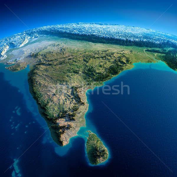 Ayrıntılı toprak Hindistan Sri Lanka dünya gezegeni Stok fotoğraf © Antartis