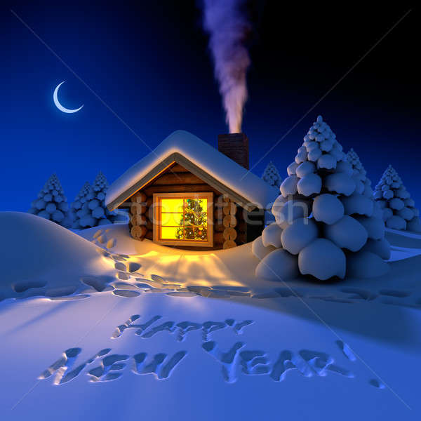 Little house in the woods on New Year's night Stock photo © Antartis