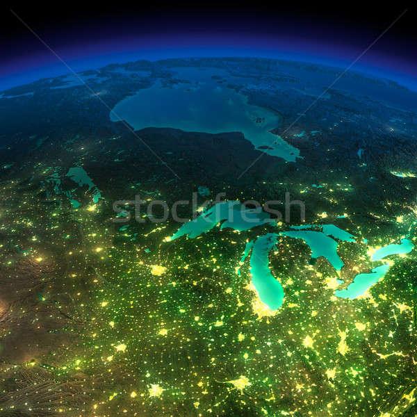 éjszaka Föld darab Amerika északi rendkívül Stock fotó © Antartis
