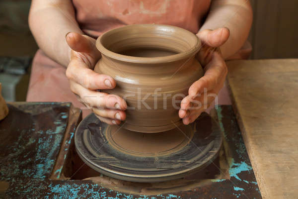 Potter shows just created a pot Stock photo © Antartis