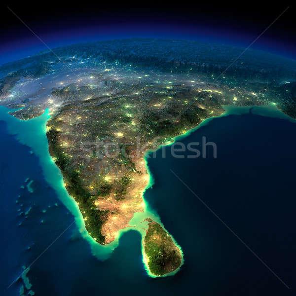 éjszaka Föld India Sri Lanka rendkívül részletes Stock fotó © Antartis