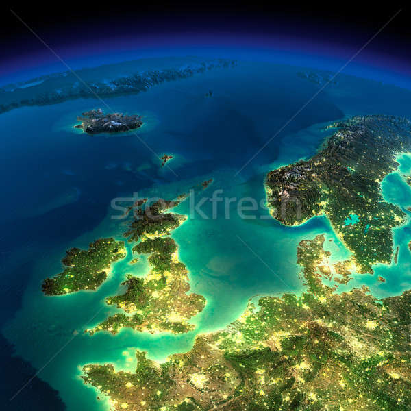 Night Earth. United Kingdom and the North Sea Stock photo © Antartis
