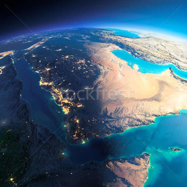Részletes Föld Szaúd-Arábia rendkívül Föld éjszaka Stock fotó © Antartis