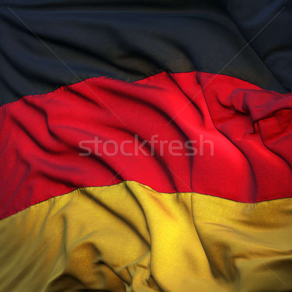 Flag of Germany, fluttering in the breeze, backlit rising sun Stock photo © Antartis