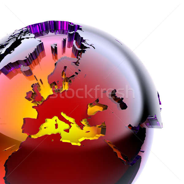 Globe of colored glass with an inner warm glow Stock photo © Antartis