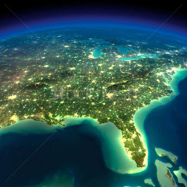 éjszaka Föld öböl Mexikó Florida rendkívül Stock fotó © Antartis