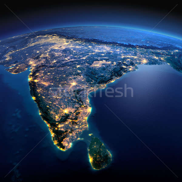 Detailed Earth. India and Sri Lanka on a moonlit night Stock photo © Antartis