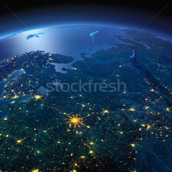 Detailed Earth. European part of Russia on a moonlit night Stock photo © Antartis