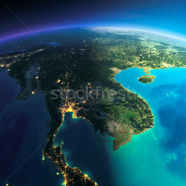 Detalhado terra península planeta terra noite Foto stock © Antartis