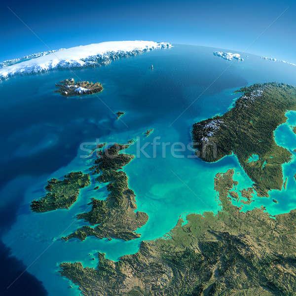 Részletes Föld Egyesült Királyság észak tenger rendkívül Stock fotó © Antartis