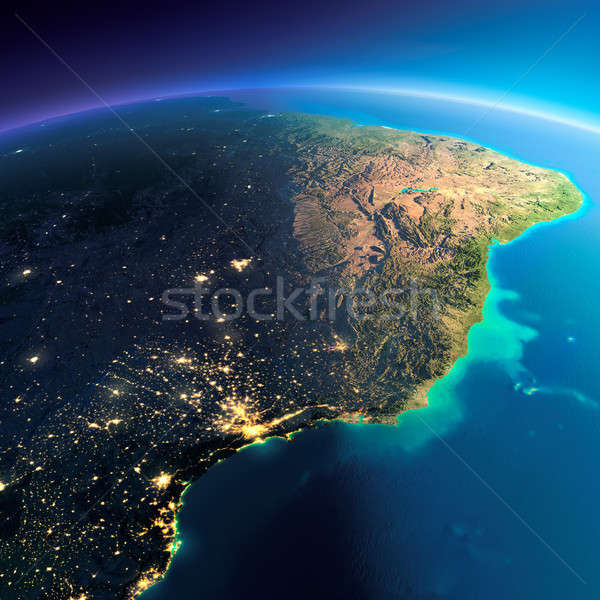 Ayrıntılı toprak sahil Brezilya dünya gezegeni Stok fotoğraf © Antartis